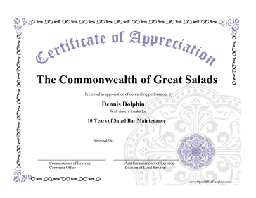 Certificate of appreciation for Free certificate of appreciation template downloads
