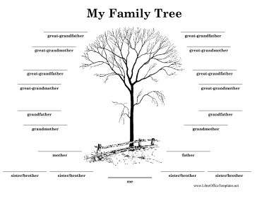 black and white family tree decorated with an illustration of a tree ...