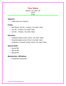 resume templates for libreoffice