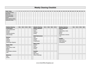 Four week cleaning checklist for Free office cleaning checklist templates