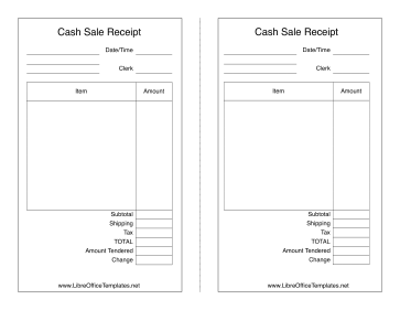 blank sales receipt samples